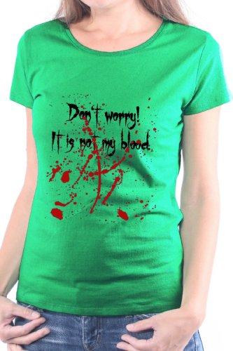 Mister Merchandise Donne Donna Camicetta T-Shirt DonŽt worry! ItŽs not my Blood. , Ladies Tee Taglia: XL, Color: Verde