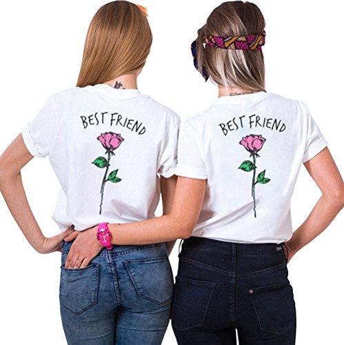 Best Friends Sister Tshirt für Zwei Damen Freund Shirts mit Rose Tops Sommer Oberteil BFF Geburtstagsgeschenk 2 Stücke Symbolische Freundschaft (weiß+weiß,M+L) -