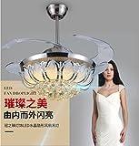 42-Zoll-silbernes Fan-Licht mit Fernsteuerungsleuchter führte Kristalldecken-Beleuchtungs-Deckenventilator-Licht