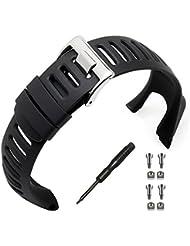Uhrenarmband, phifo Soft schwarz Gummi Ersatz Uhrenarmband mit gratis Werkzeug und 4Schraube für Suunto Bereich 3Peak/Bereich 2/1