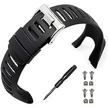 Phifo - Pulsera para reloj de goma suave, color negro, repuesto, con herramienta y 4tornillos para SUUNTO Ambit 3 PEAK/Ambit 2/1