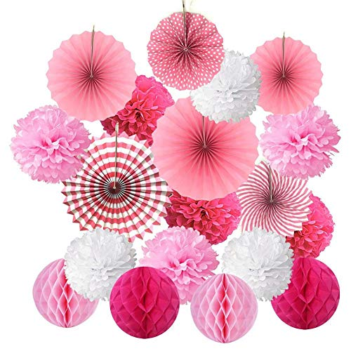 19 Pcs Fenster Decke Papier Blume Ball Dekoration - Seidenpapier Pompons Honeycomb Ball Papier Fan Blume Set für Hochzeit Geburtstag Party Baby Shower Home Dekorationen