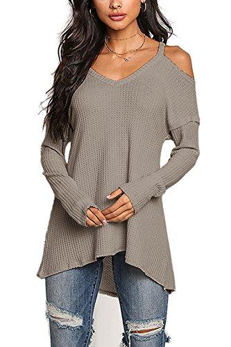 YOINS Damen Pullover Schulterfrei Oberteil Off Shoulder Pullover Strickpullover für Damen V-Ausschnitt Grau EU40-42