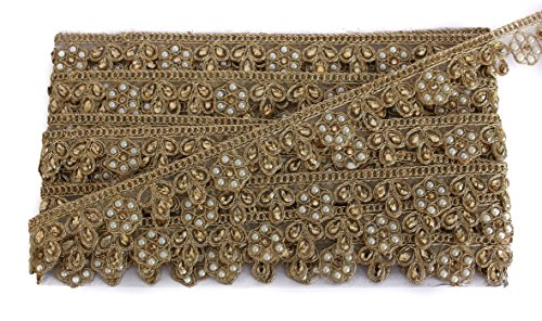 Net Kundan and Pearl Flower Sequence Work Lace Border Trim Lehenga Dupatta...