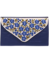 Soulful Threads Hand clutch in Cotton Silk fabric with elegant Quilt Design and machine Embroidery