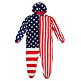 Fleecy USA Jumpsuit, Loungewear Plush Onesie, Slumber Party Unisex Costume With American Flag Print, Fluffy Hooded Overall Pyjama For Adults, Stars And Stripes - Height 185-195cm (XXL)