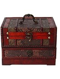 ZRO Antique Boîte de rangement en bijoux en bois Étui pour vanité Fleur sculptée Unique Conception faite main Cadeau Secret Boîte à bijoux
