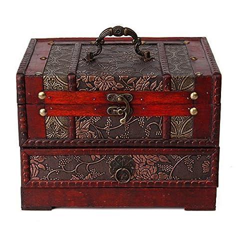 ZRO Antique Boîte de rangement en bijoux en bois Étui