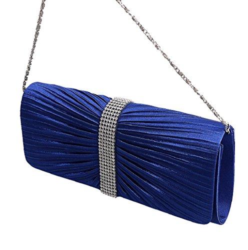 Dairyshop Donna Satin Diamante ha pieghettato il nero della borsa da sposa della borsa da sposa della frizione di sera (Nero) Reale Blu