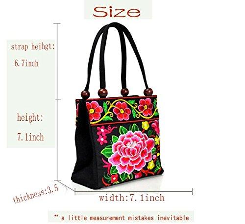 Due tasche borse ricamo–Memorecool vari modelli di legno perline Decor ragazze estate Materiale di alta qualità borsa purple2 red1