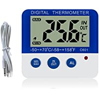 Digital Freezer/Fridge Thermometer with Magnet and Stander Gellvann  Digital Freezer Thermometer with LED Alarm Indicator Max/Min Memory Freezer Thermometer for Home Kitchen Restaurants Bars Cafes