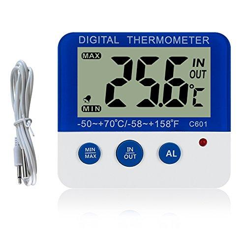 Gellvann Digital Gefrierschrank/K¨¹hlschrank Thermometer mit Magnet und Stander Digital Gefrierschrank Thermometer mit LED Alarm Indikator Max/Min - Alarm Alarm Gefrierschrank