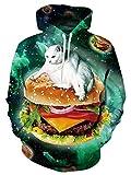 Leapparel Coole Pullover Herren Hoodies 3D Hamburger Cat Grafik All-over Print Sweatshirt mit Tunnelzug und Große Kängurutasche und Fleece-Innenfutter