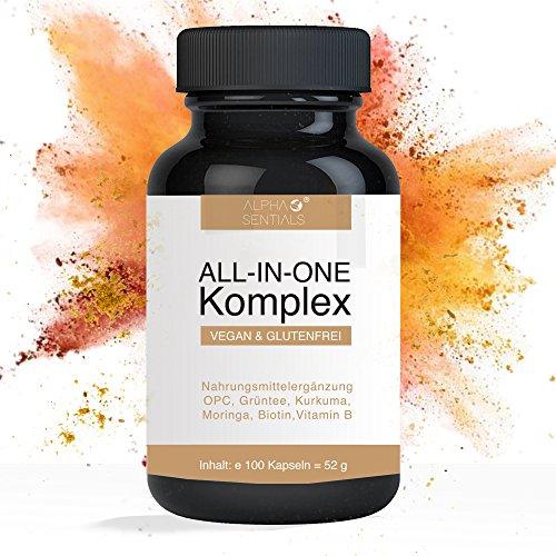 Alphasentials ALL-IN-ONE Komplex mit Vitamin B, OPC, Grüntee, Kurkuma, Moringa, Mangostan, Biotin | 100 vegane Kapseln (1 x 52 g) | Natürlicher Fatburner | Entschlackung | Vitamin-B Komplex |
