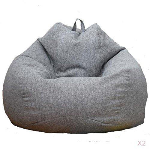 LOVIVER 2pcs Pouf Poire Inclinable, Sac de Rangement Jouets en Peluche Adulte Grande Chaise de Sac D'haricot pour Vêtement Poupée Couverture Serviette