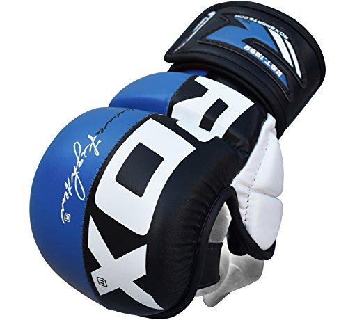 Rüstung Handschuhe (RDX Herren Gel  MMA UFC Handschuhe Kampfsport Sandsackhandschuhe Sparring Grappling Trainingshandschuhe, Blau, M)