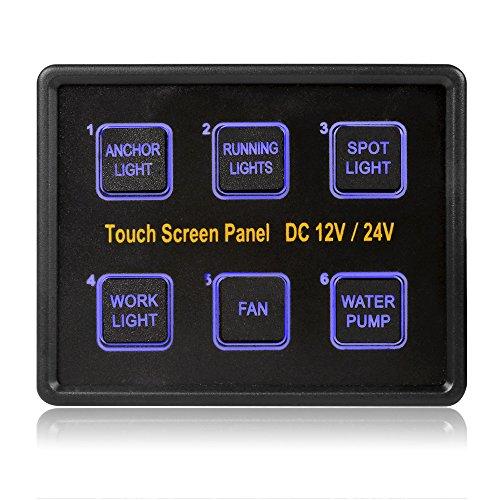 LeaningTech LTC® 6 Gang 12-24V Touch Screen Panel Kapazitive Touch-Schalter ON-OFF Wasserdichte Blau LED+15 Pin VGA Kabel für Auto Boot Marine Yacht (Marine-schalter 6)