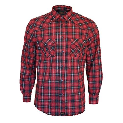 flanellhemd rot schwarz kariert Rock-It Flanellhemd Herren Langarm Holzfällerhemd kariert Made in Europe Medium Rot/Schwarz/Weiß kariert