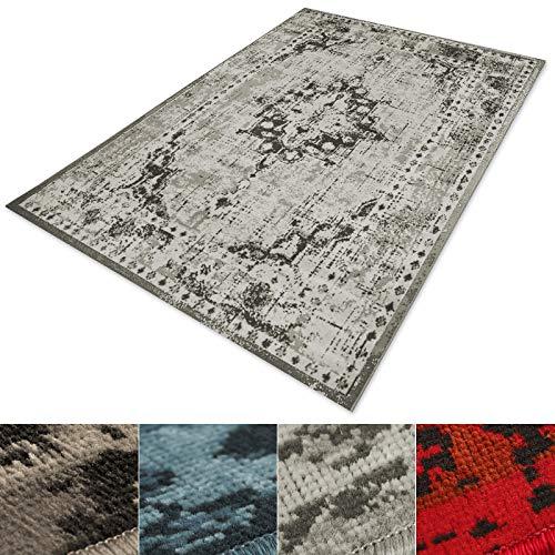 *casa pura® Vintage Teppich | viele Größen | im angesagten Shabby Chic Look | für Wohnzimmer, Schlafzimmer, Flur etc. | grau (80×150 cm)*