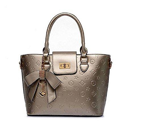 lazutom da donna PU Borsa in pelle borsa borsa a tracolla Gold