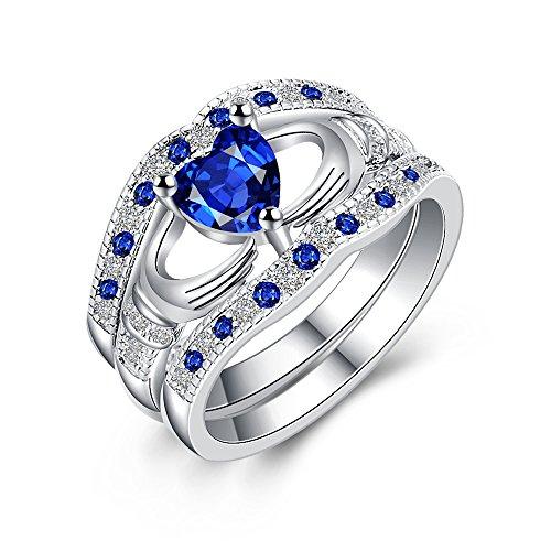 Uloveido irischer Claddagh Freundschafts-Ring-weißes Gold überzogene Blaue Herz-Liebes-Knoten-halbe Ewigkeits-Ring, Ring-Geschenk der Mutter für Mutter HR314-9 (Ewigkeit Ringe Weiß Gold)