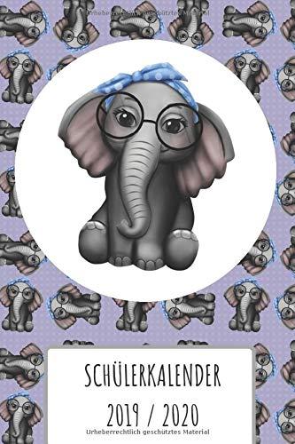 Schülerkalender 2019 2020: Schüler Kalender Elephant mit Nerd Brille 19/20 für Mädchen. 2 Seiten = 1 Woche. Wochenkalender, Noten und Klausuren Übersicht, mit Stundenplan und vieles mehr.