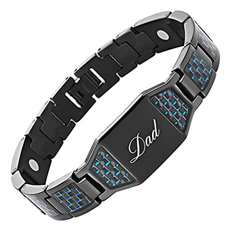 Willis Judd DAD Titanium Magnetic Bracelet with Carbon Fiber Engraved Love You Dad with Gift Box and Link Removal Tool