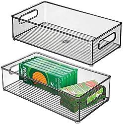mDesign boite stockage à poignées intégrées en plastique (lot de 2) - boite rangement pour la cuisine, la salle de bain ou la papeterie - boite plastique pour le bureau - gris fumé