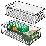 mDesign Boite Stockage à poignées intégrées en Plastique (Lot de 2) - Boite...