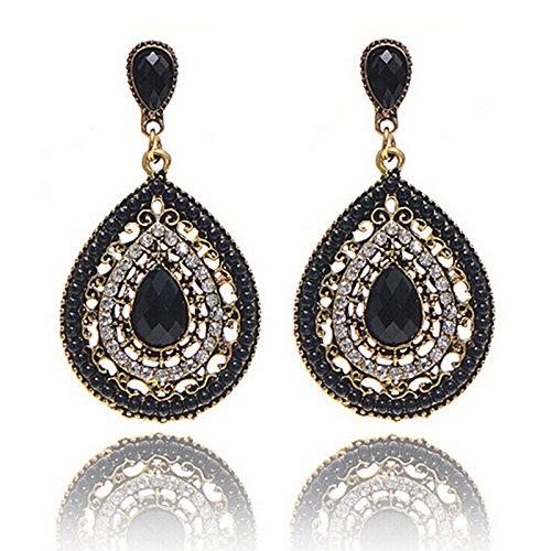 Damen Schmuck DAY.LIN Frauen Vintage Böhmen Tropfen Ohrring Harz Perlen Herz Vintage Ohrringe (Schwarz)