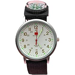 QBD Mens White Night Vision Survival SAS Army Compass Canvas Watch