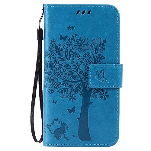 Voguecase® Per Samsung Galaxy A5 (2016) A510F, (grande albero - blu) Elegante borsa in pelle Custodia Case Cover Protezione chiusura ventosa Con Stilo Penna