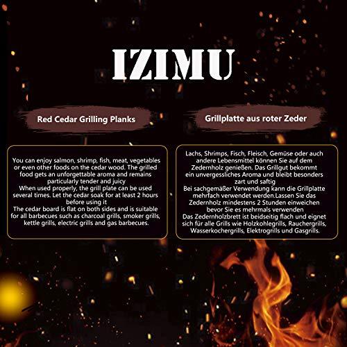 51yPkqilDBL - IZIMU Grillbretter,Zedernholzbrett zum Grillen,Räucherbretter aus Zedernholz hergestellt aus 100% natürlichem Red Zedernholz,Grillbretter BBQ (2er Set)