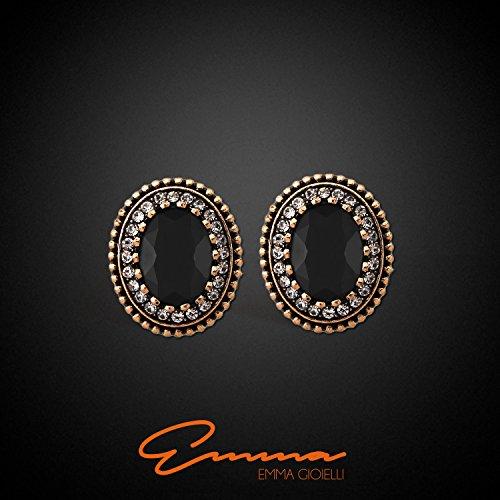 Emma Gioielli - Damen Ohrringe Lappen Oval Ovalen Antik-Optik Retro Vintage-Stil Vergoldet mit Roségold und Kristallen SWAROVSKI ELEMENTS Weiß und Schwarz - Schmucketui - 2