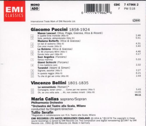 Airs Puccini Bellini [Import anglais]