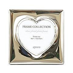 Idea Regalo - Kenro SYH1010 Cornice portafoto a forma di cuore, 10 cm x 10 cm, colore argento lucido