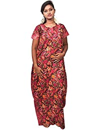 AISNIGHA Women maroon Print Cotton nighty a deep5026 | Women Soft and Comfortable Nightgown for Straight-Fit | Ladies Nighty Set | High-Quality Nightwear for Everyday Use – Large | XL | XXL | XXL | stylish piece of ladies nighty that is ultra-soft and durable | Made from best quality materials | comes under best price