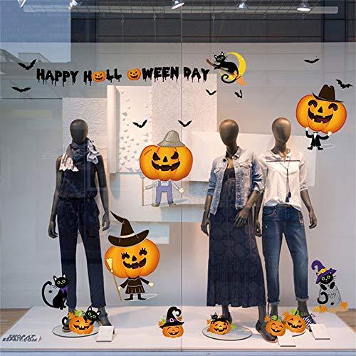 Halloween Kürbis Fenster Tür und Fenster Aufkleber Spukhaus Bar Ecke Dekoration selbstklebende Wandaufkleber