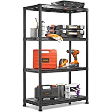 VonHaus 4 Tier Plastic Unit Extra Wide | Shelving for Garage and Shed | Freestanding Storage System - 125Kg Capacity - 25Kg Per Shelf - Ideal Office, Garden, Studio, Workshop - 174 x 80 x 40cm