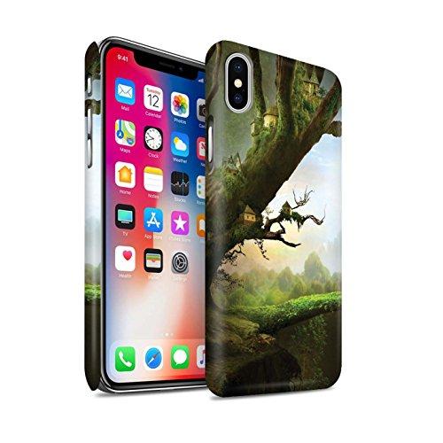 Officiel Elena Dudina Coque / Clipser Matte Etui pour Apple iPhone X/10 / Lagune de Montagne Design / Fantaisie Paysage Collection Ville dans Arbres