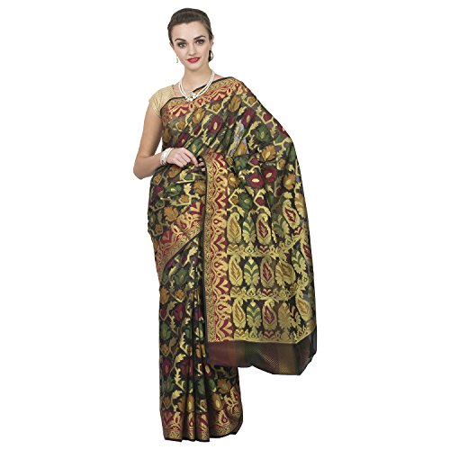 Craftghar Organza Saree With Blouse Piece(X-07-023-Sre_Multi-Coloured,Gold Black Free Size)