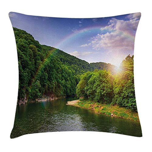 Nature Throw Pillow Cushion Cover by, Summer Scene by Mountain Valley with Rainbow over the Lake Sunny Day Image, Decorative Square Accent Pillow Case, 18 X 18 Inches, Hunter Green Blue