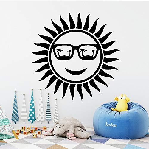 ljradj Modische Sunny Wandaufkleber Selbstklebende Vinyl wasserdichte Wandkunst Aufkleber Für Baby Kinderzimmer Dekor Wandkunst Aufkleber Wandbilder schwarz L 43 cm X 52 cm