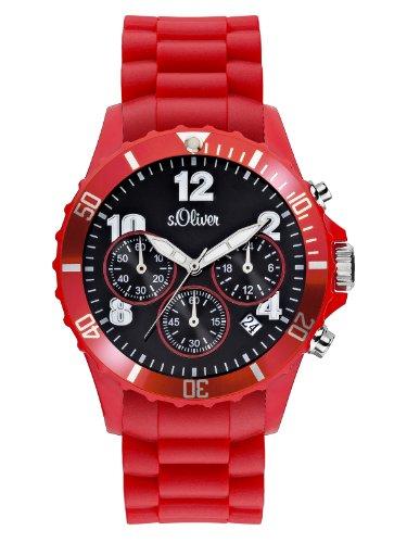 s.Oliver Unisex-Armbanduhr Big Size Chronograph Silikon rot SO-2327-PC