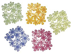mDesign Bathtub Mat Transparent - Set of 6 - Assortment of Non-Slip Bathroom Mat in Flower Design - Shower Insert With Suction Cups - Various Colours
