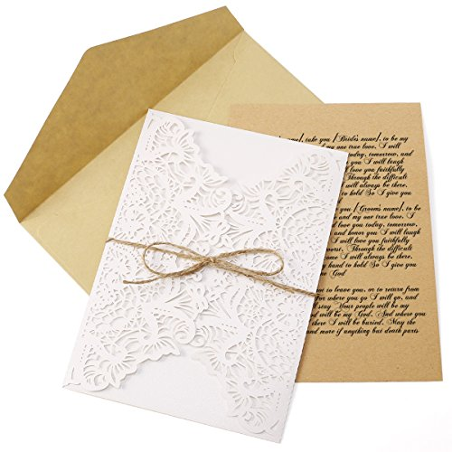 10x cartes invitation kraft dent...