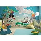 Vliestapete Lustiger Pirat auf Schatzinsel - Größe 330 x 255 cm - Fototapete