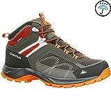 Quechua MH 100 Mid Men's Waterproof Hiking Shoes - Grey Orange (EU 42)