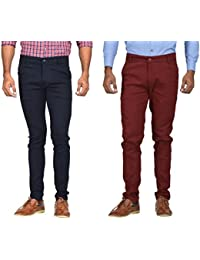 Kushsection Blue Trousers & Maroon Trousers Cotton Trousers Combo Solid Trousers F13S17 (Pack Of 2 Casual Trousers)
