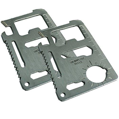 com-four® 2X Multifunktions Werkzeug im Scheckkartenformat 11-in-1 Funktions-Karten-Messer hochwertiges Edelstahl mit Etui (02 Stück - Tool V1 silberfarben)